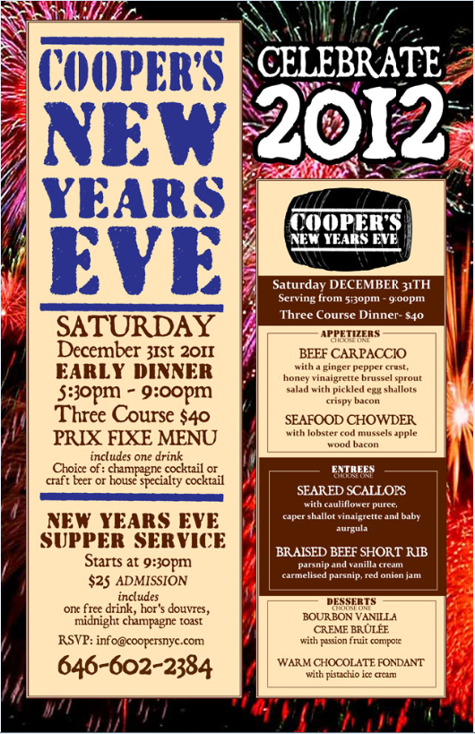 New Year's Eve at Cooper's Craft & Kitchen