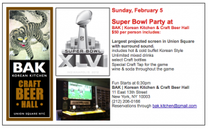 Super Bowl Sunday at Bak