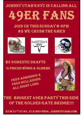 49ers game watch party NYC