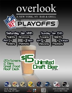NFL Playoffs game watch at Overlook NYC