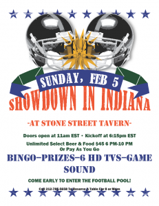 Super Bowl Party at Stone Street Tavern