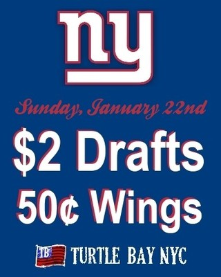 Giants Game Watch party at Turtle Bay NYC
