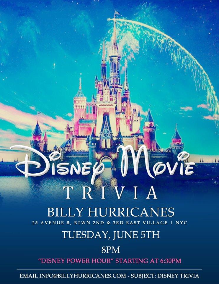 Disney Movie Trivia Night at Billy Hurricane's - MurphGuide