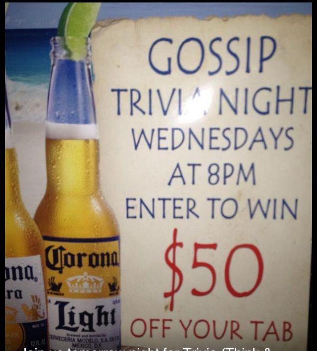 Trivia Night at Gossip - MurphGuide: NYC Bar Guide