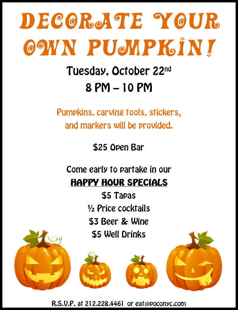 Decorate your own pumpkin at poco murphguide nyc bar guide - Decorate your own house ...