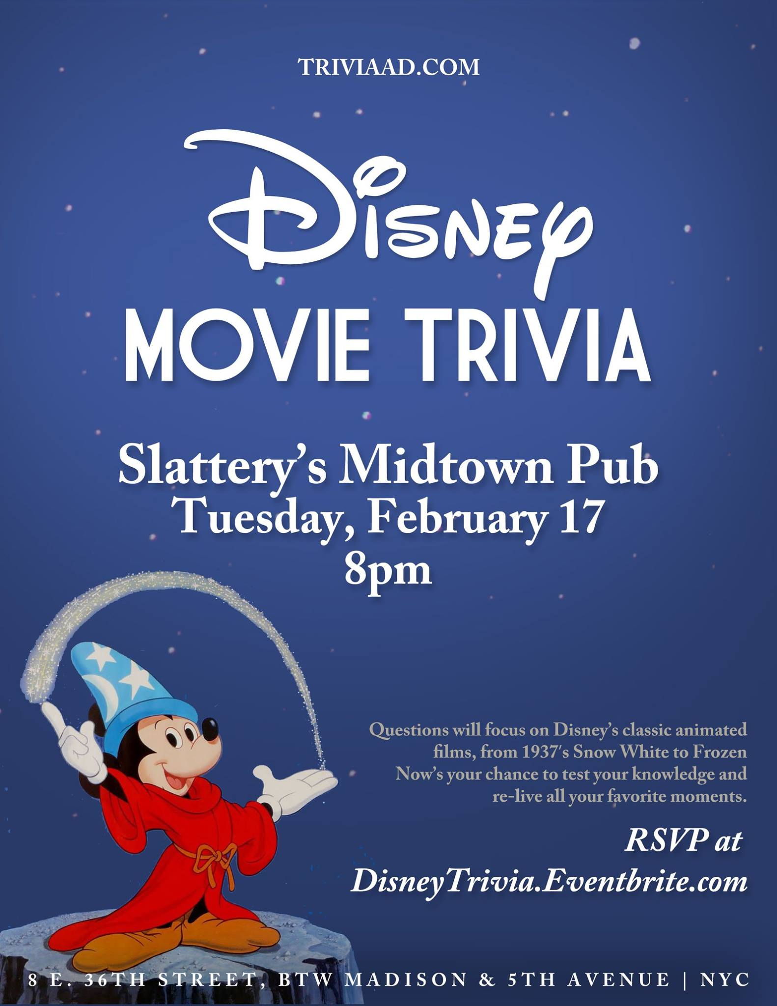 Disney Movie Trivia at Slattery's - MurphGuide: NYC Bar Guide
