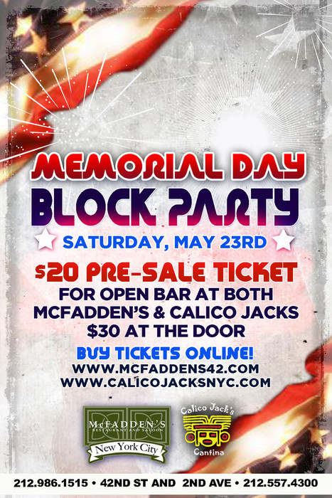 Memorial Day Block Party At Mcfadden S Amp Calico Jack S