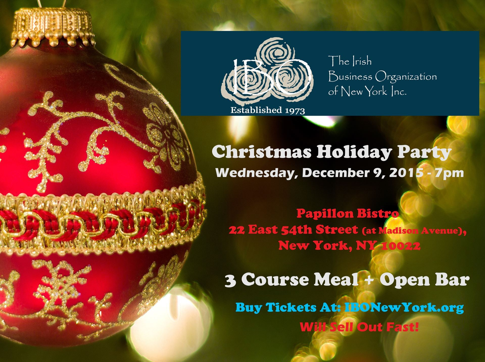 Ibo christmas party at papillon murphguide nyc bar guide ibo christmas party ibo member 85 non member 95 tickets includes 3 course meal open bar craic agus ceol 7pm at papillon 22 e 54th st bet kristyandbryce Images