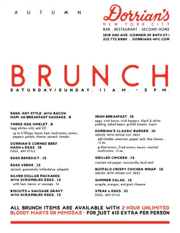 Dorrian's Brunch Menu