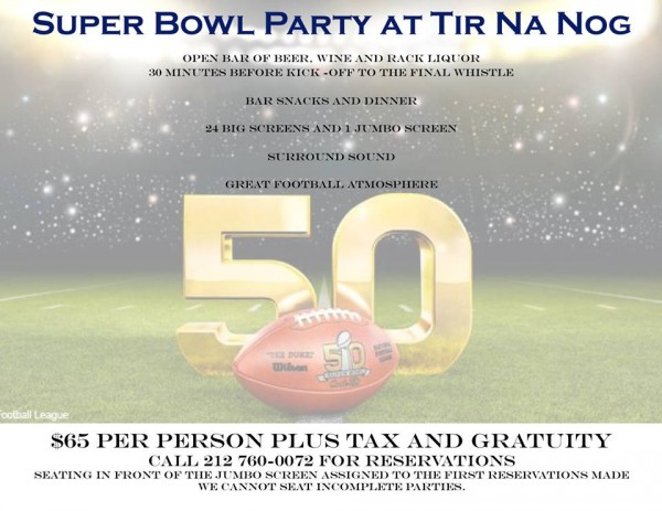 Super Bowl 50 at Tir na nOg Times Square