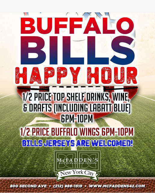 buffalo bills happy hour at mcfadden u0026 39 s