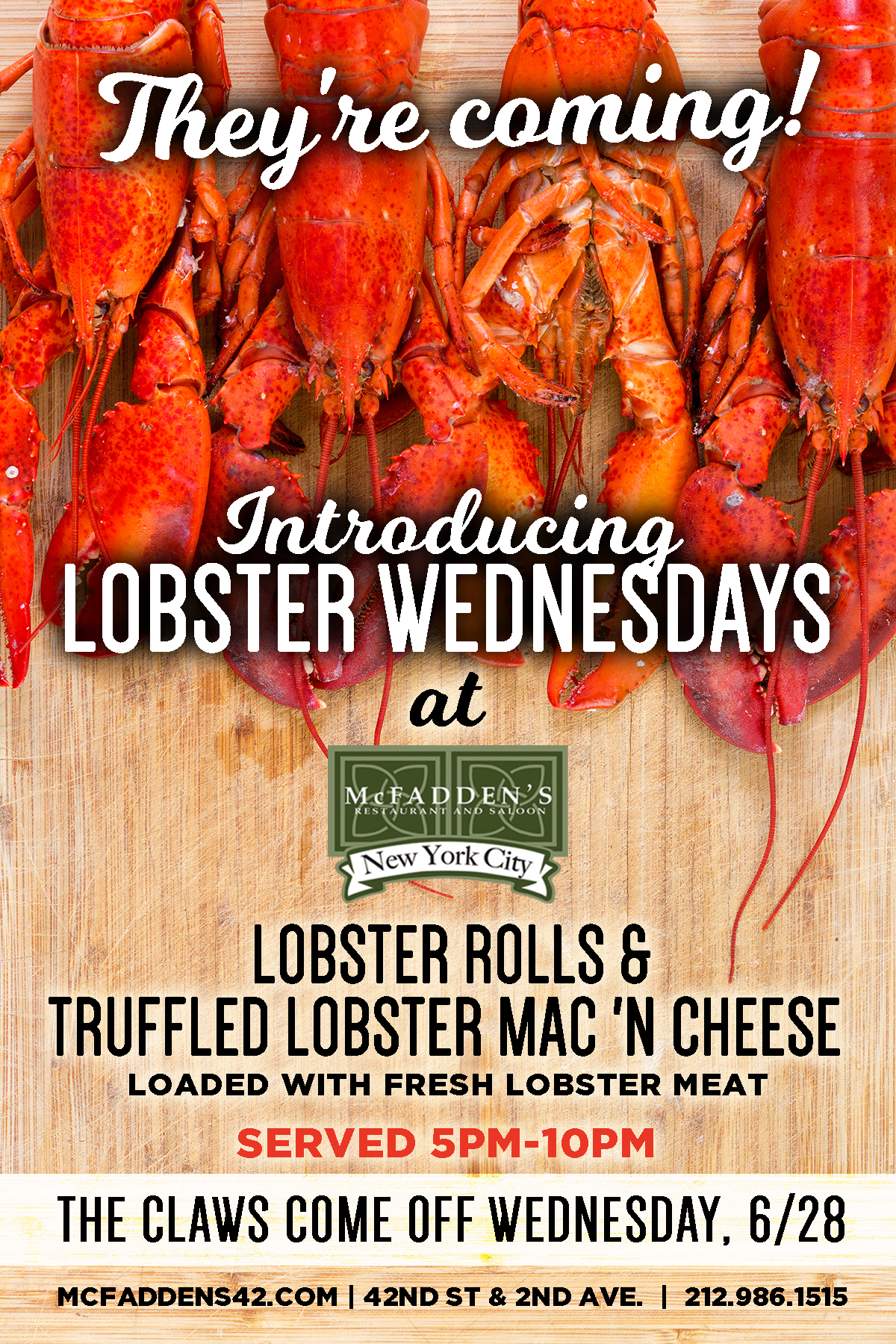 Launch of Lobster Wednesdays at McFadden's - MurphGuide: NYC Bar Guide
