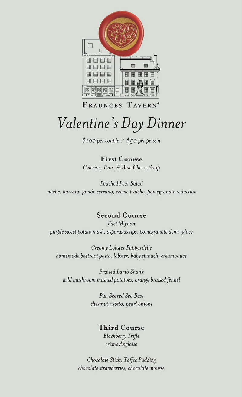 Fraunces Tavern Valentine's Day menu