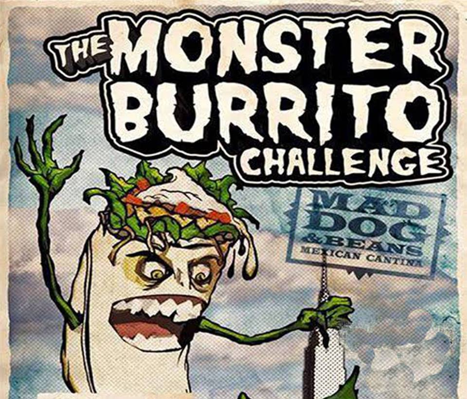 Monster Burrito Eating Contest At Mad Dog Beans Murphguide Nyc Bar Guide