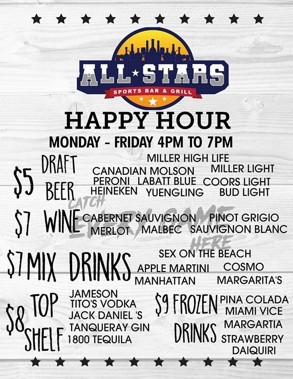 Happy Hour at All-Stars Bar & Grill