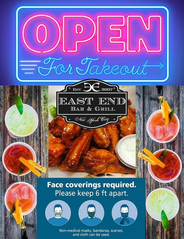 East End Bar open for take-out
