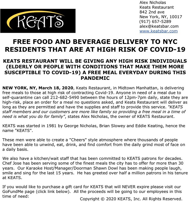 Keats Offering Free Food To At Risk New Yorkers Murphguide Nyc